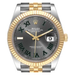 Rolex Datejust 41 Steel Yellow Gold Grey Dial Green Numerals Men's Watch 126333