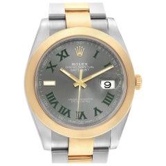 Rolex Datejust 41 Steel Yellow Gold Grey Green Dial Watch 126303 Box Card