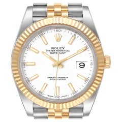 Rolex Datejust 41 Steel Yellow Gold White Dial Men's Watch 126333 Box Papers