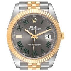 Rolex Datejust 41 Steel Yellow Gold Wimbledon Mens Watch 126333 Box Card