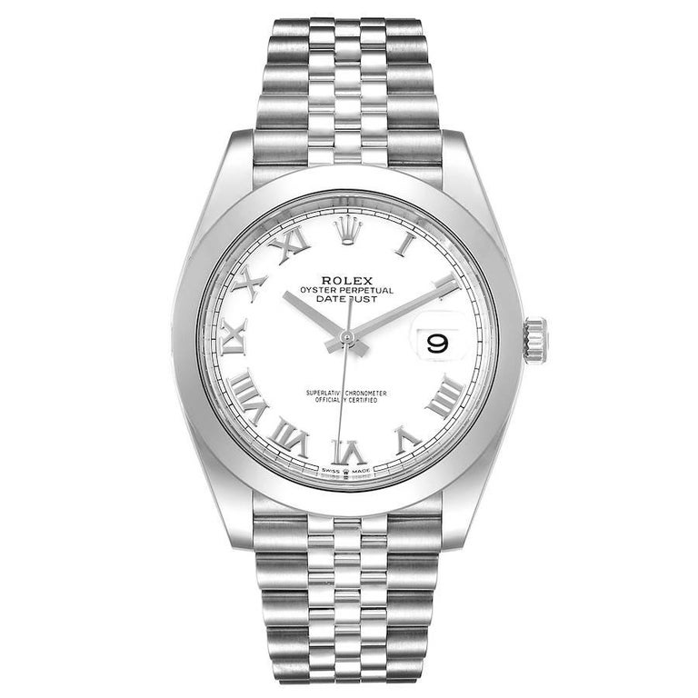 Rolex Datejust 41 White Dial Steel Mens Watch 126300 Box Card. Officially certified chronometer automatic self-winding movement. Stainless steel case 41 mm in diameter. Rolex logo on a crown. Stainless steel smooth domed bezel. Scratch resistant