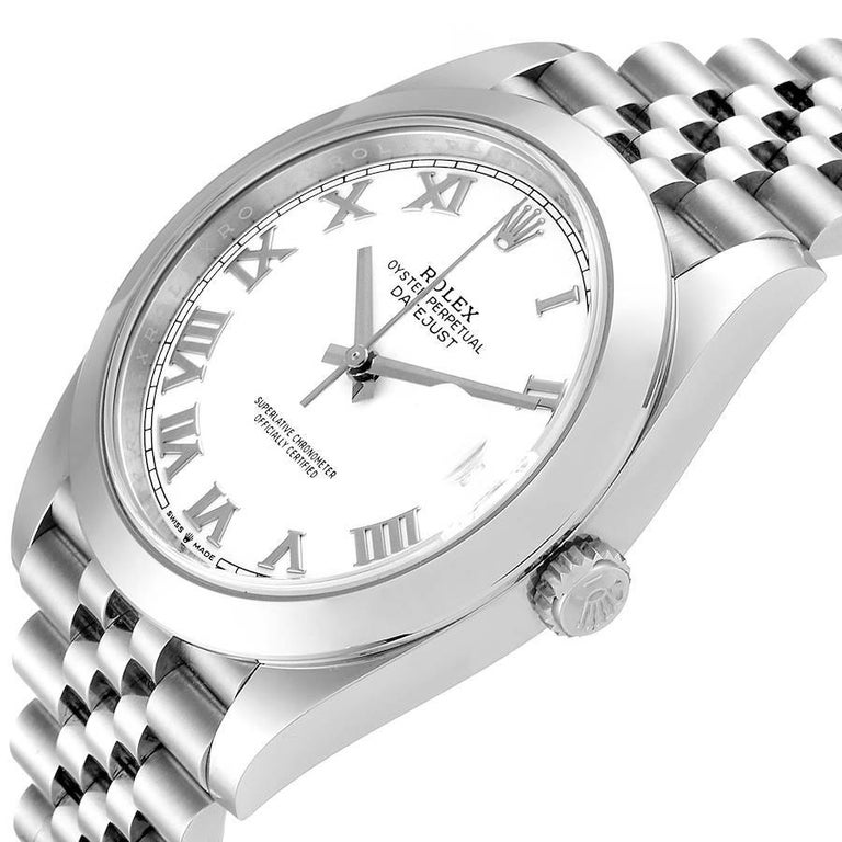 Rolex Datejust 41 White Dial Steel Men's Watch 126300 Box Card For Sale 2