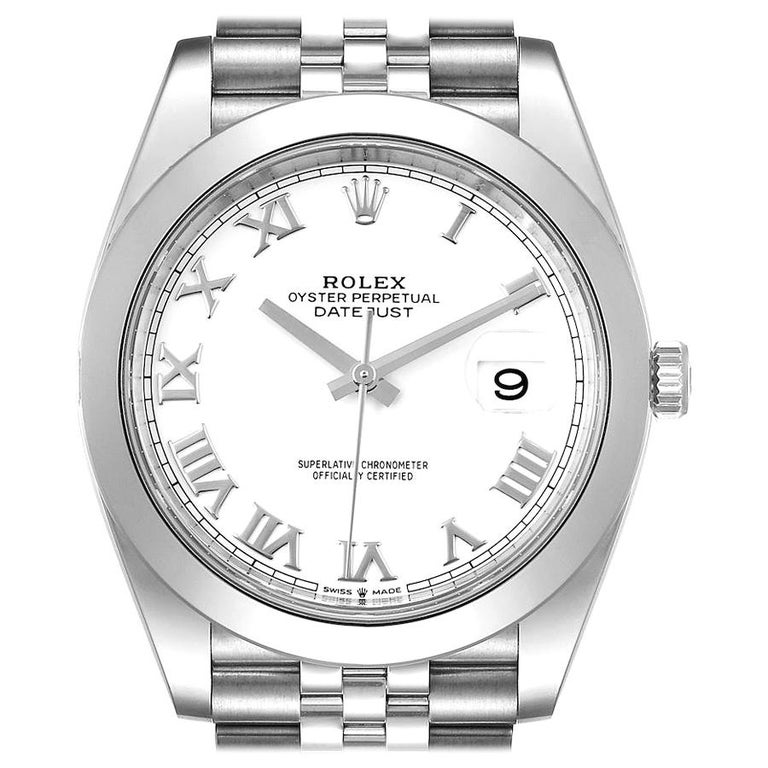 Rolex Datejust 41 White Dial Steel Men's Watch 126300 Box Card For Sale