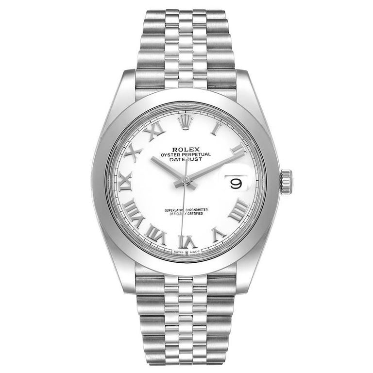 Rolex Datejust 41 White Dial Steel Mens Watch 126300 Box Card Unworn. Officially certified chronometer automatic self-winding movement. Stainless steel case 41 mm in diameter. Rolex logo on a crown. Stainless steel smooth domed bezel. Scratch