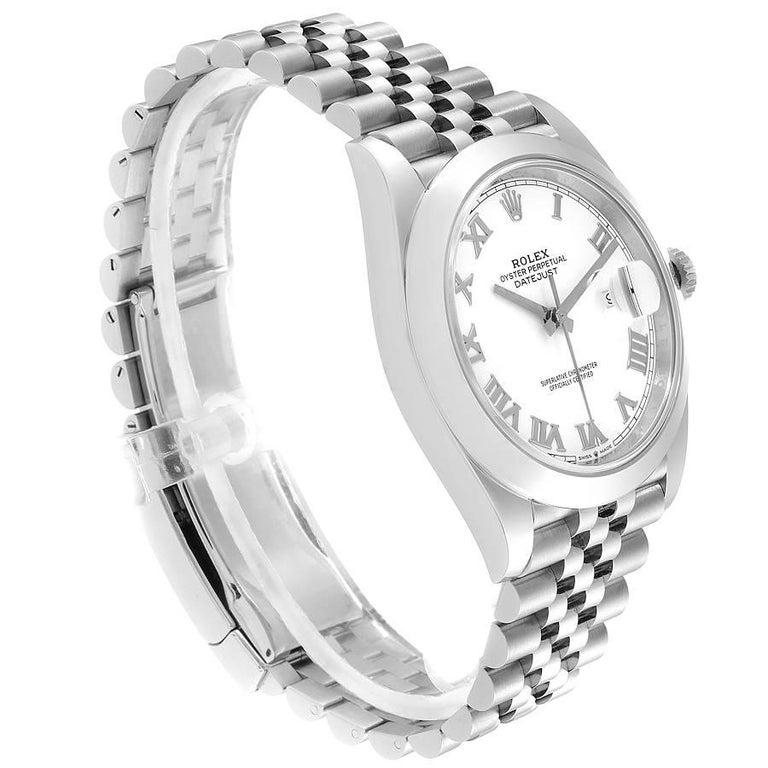 Rolex Datejust 41 White Dial Steel Men's Watch 126300 Box Card Unworn In Excellent Condition For Sale In Atlanta, GA