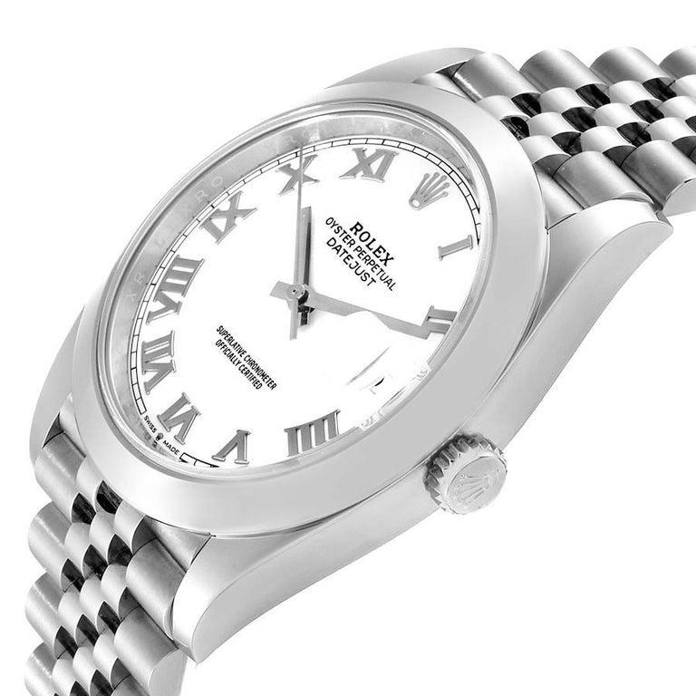 Rolex Datejust 41 White Dial Steel Men's Watch 126300 Box Card Unworn For Sale 2