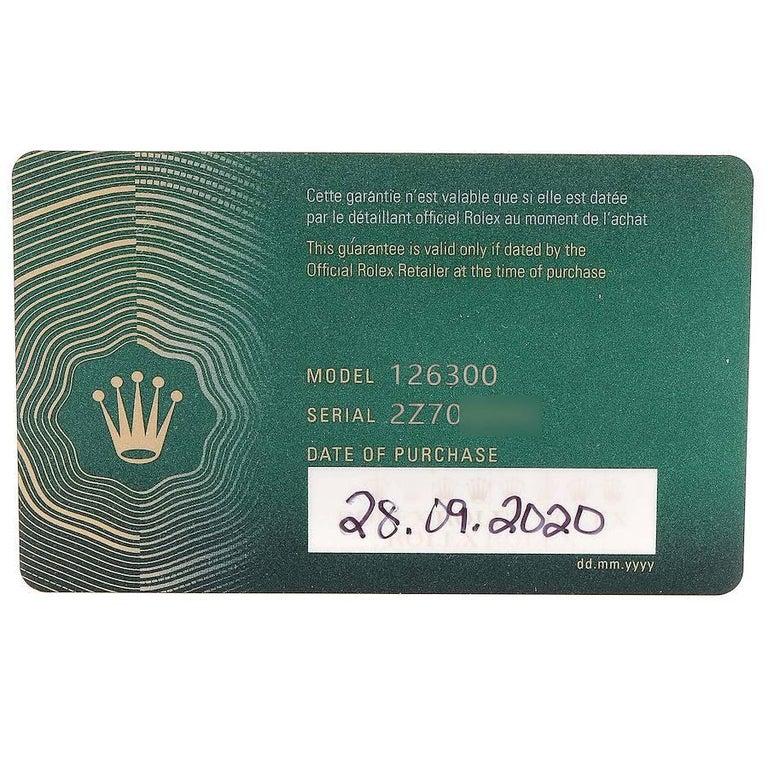 Rolex Datejust 41 White Dial Steel Men's Watch 126300 Box Card Unworn For Sale 5