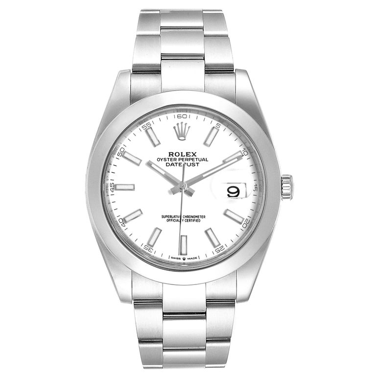 Rolex Datejust 41 White Dial Steel Mens Watch 126300 Box Papers. Officially certified chronometer automatic self-winding movement. Stainless steel case 41 mm in diameter. Rolex logo on a crown. Stainless steel smooth domed bezel. Scratch resistant