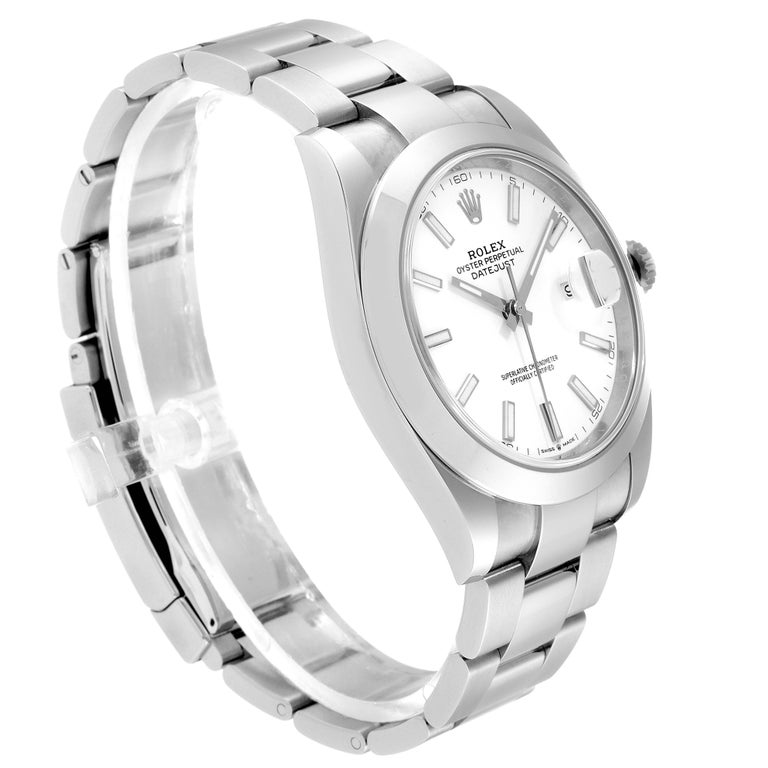 Rolex Datejust 41 White Dial Steel Men's Watch 126300 Box Papers In Excellent Condition In Atlanta, GA