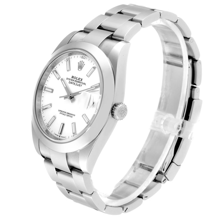Rolex Datejust 41 White Dial Steel Men's Watch 126300 Box Papers 1