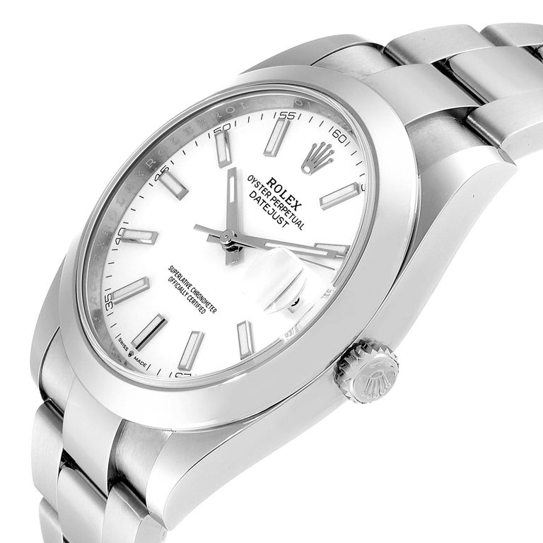 Rolex Datejust 41 White Dial Steel Men's Watch 126300 Box Papers 2