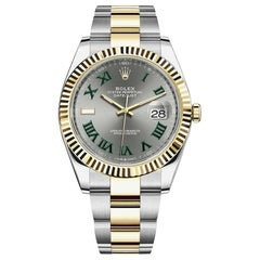 Rolex Datejust 41 Wimbledon Gold Steel Slate Dial Green Markers Men Watch 126333
