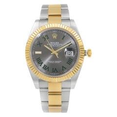 Rolex Datejust 41 Wimbledon Gold Steel Slate Dial Green Markers Men Watch 126333