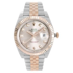 Rolex Datejust 18k Everose Gold Steel Pink Dial Mens Automatic Watch 126331
