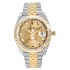 Rolex Datejust 18k Gold Steel Champagne Diamond Dial Men's Watch 126333