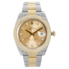 Rolex Datejust 18K Yellow Gold Champagne Diamond Dial Mens Watch 126333