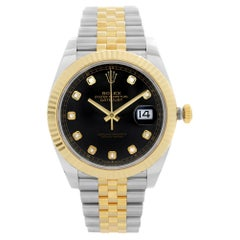 Rolex Datejust 18k Yellow Gold Steel Black Dial Mens Automatic Watch 126333