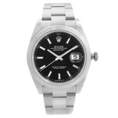 Rolex Datejust Oyster Band Steel Black Dial Mens Automatic Watch 126300