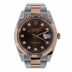 Rolex Datejust Stainless Steel and 18 Karat Rose Gold Diamond Dial Watch 126331