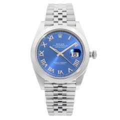Rolex Datejust Stainless Steel Blue Roman Dial Automatic Mens Watch 126300