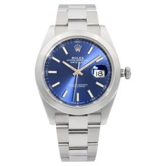 Rolex Datejust Stainless Steel Blue Stick Dial Automatic Mens Watch 126300