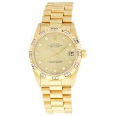 Rolex DateJust 68258 18K President Diamond Dial and Bezel Midsize Ladies Watch