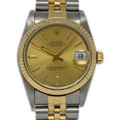 Rolex Datejust 68273 Steel Gold Champagne Index 1990 2 Year Warranty #I2287