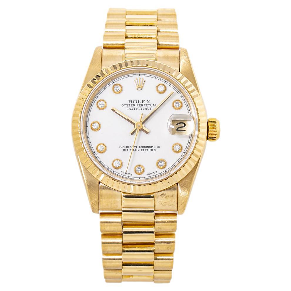 Rolex Datejust 68278 Factory Diamond Dial President 18K Gold Midsize Watch