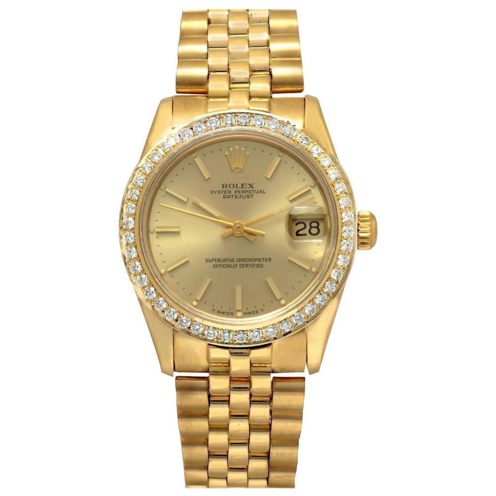 Rolex Datejust 68278 Midsize Automatic Watch 18K Gold Diamond Bezel Gold Dial