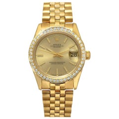Rolex Datejust 68278 Midsize Automatic Watch 18K Gold Diamond Bezel Gold Dial