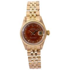 Rolex Datejust 6901 Automatic 18 Karat Yellow Gold Jubilee Bracelet Wooden Dial