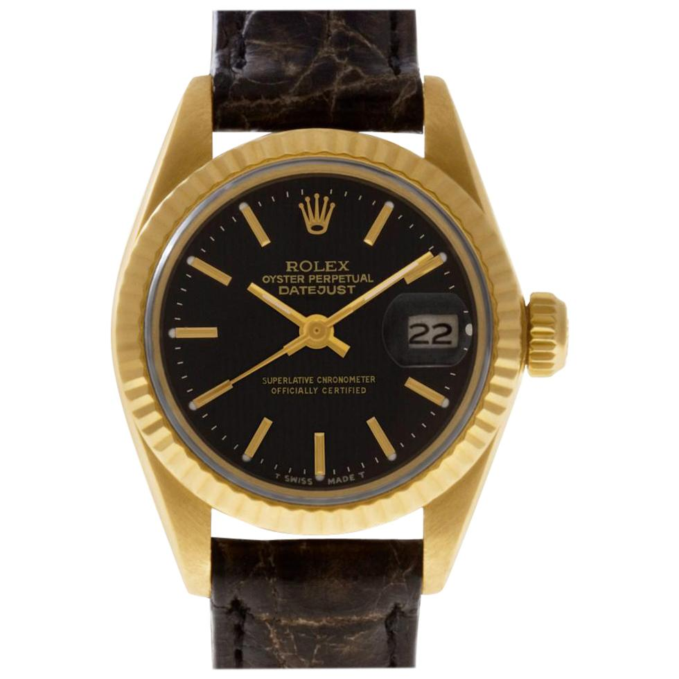 Rolex Datejust 6917 18 Karat Yellow Gold Black Dial Automatic Watch