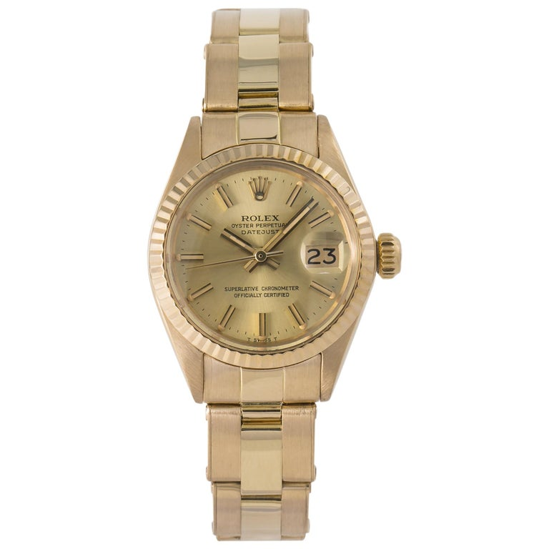 Rolex Datejust 6917 Gold Dial 18K Yellow Gold Automatic Lady's Watch For Sale