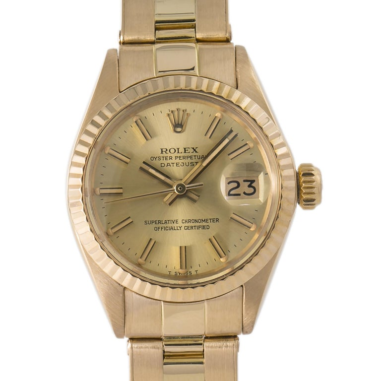 Rolex Datejust 6917  Gold Dial 18KYellow Gold Automatic Lady's Watch 26mm