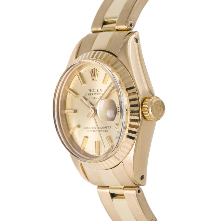 Contemporary Rolex Datejust 6917 Gold Dial 18K Yellow Gold Automatic Lady's Watch For Sale