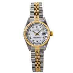 Rolex Datejust 69173 Automatic Lady's Watch White Dial 18K Two Tone W/Paper
