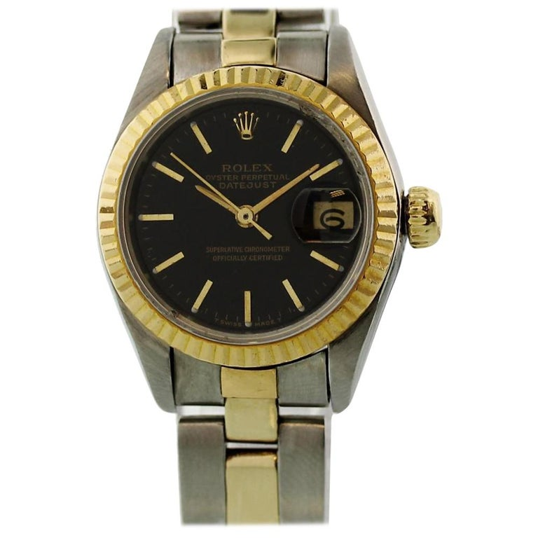 581744f885cb5 Rolex Datejust 69173 with Band and Black Dial Certified Pre-Owned For Sale