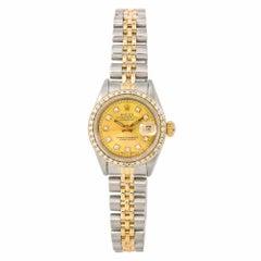 Rolex Datejust 69173 Damen-Automatikuhr Diamant Lünette und Zifferblatt Zweifarbig