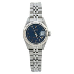 Rolex Datejust 69174 Papers Blue Roman Dial 18k Fluted Bezel Ladies Watch