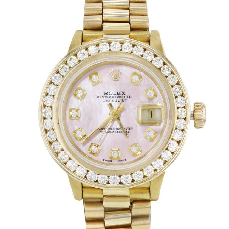 Rolex Datejust 69178 Custom Bezel & MOP Diamond 2cttw Yellow Gold Ladies Watch