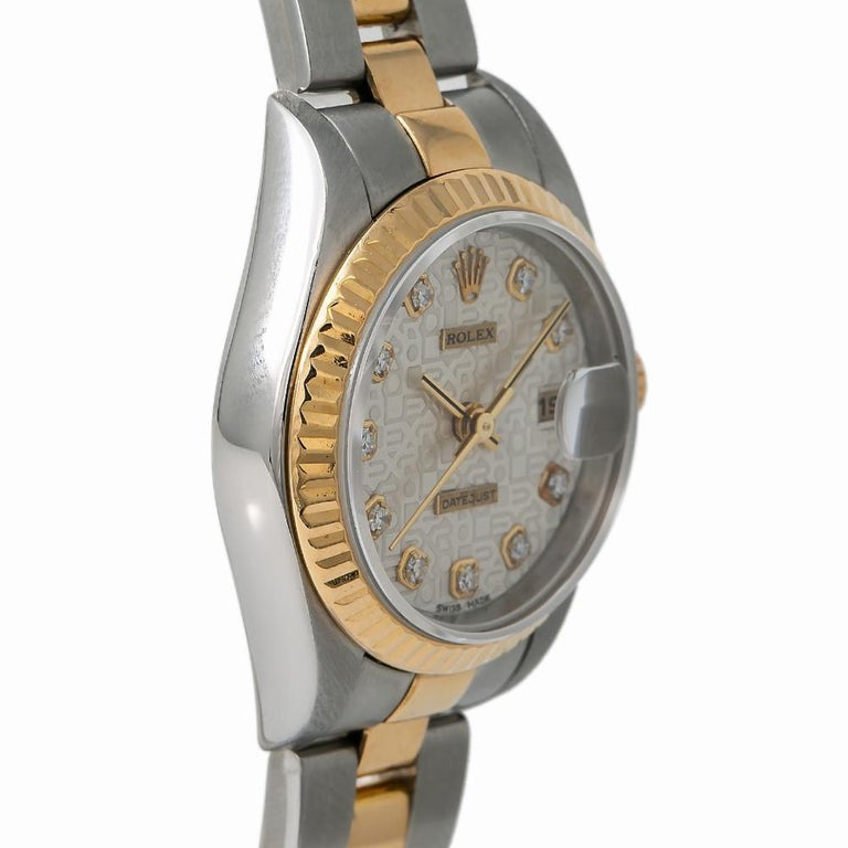 Rolex Datejust Reference #:79173. Rolex Lady Datejust 79173 Factory Diamond Jubilee Watch 18k Two Tone 26mm. Verified and Certified by WatchFacts. 1 year warranty offered by WatchFacts.