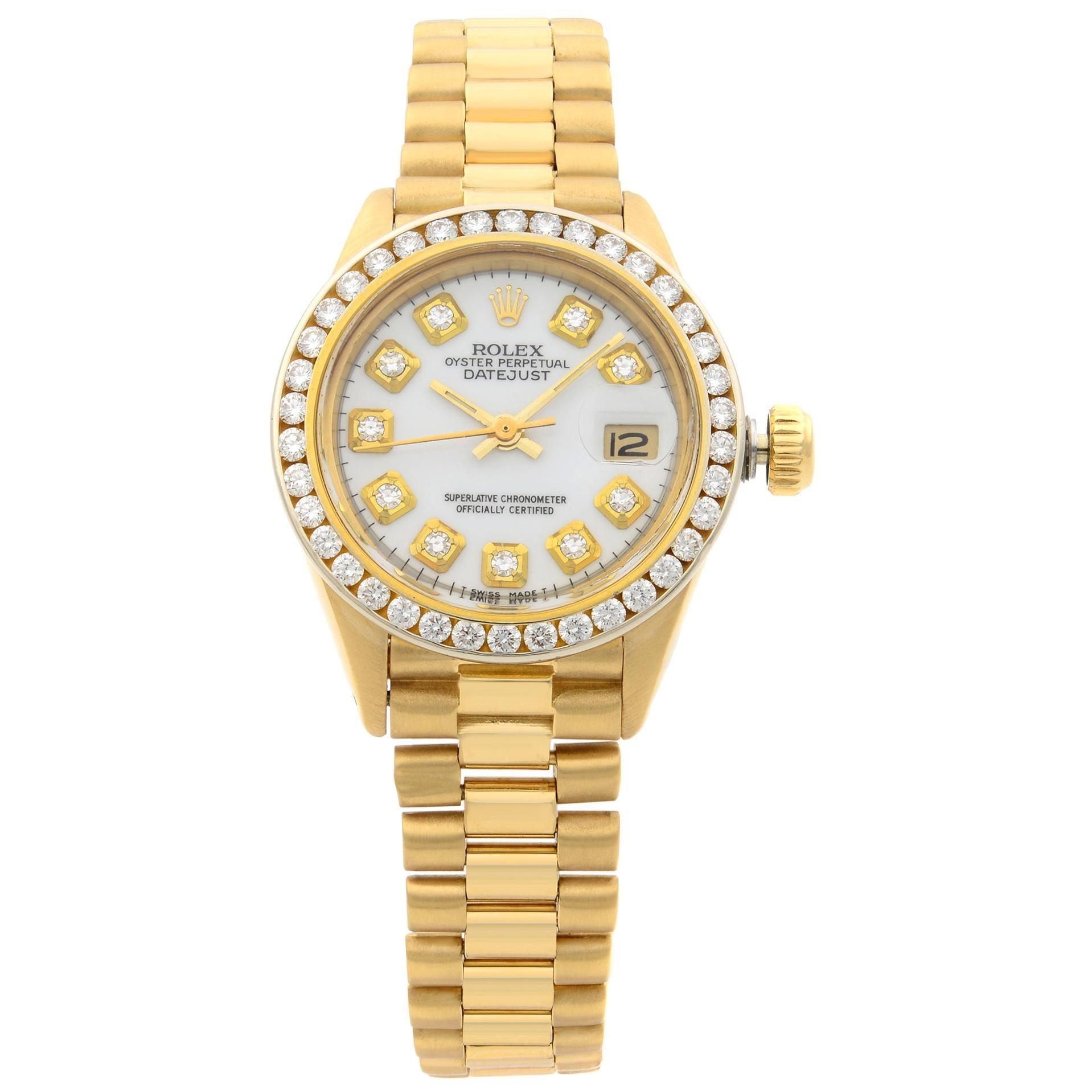 Rolex Datejust Aftermarket Diamond Bezel Yellow Gold Ladies Watch 6917