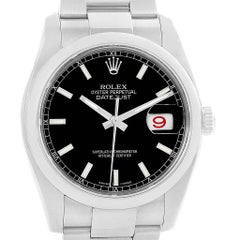 Rolex Datejust Black Baton Dial Steel Men's Watch 116200 Box
