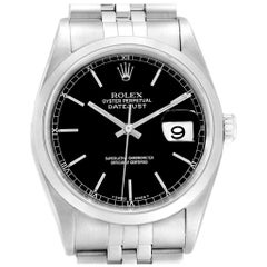Rolex Datejust Black Dial Jubilee Bracelet Steel Men's Watch 16200