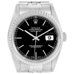 Rolex Datejust Black Dial Jubilee Bracelet Steel Men's Watch 16220