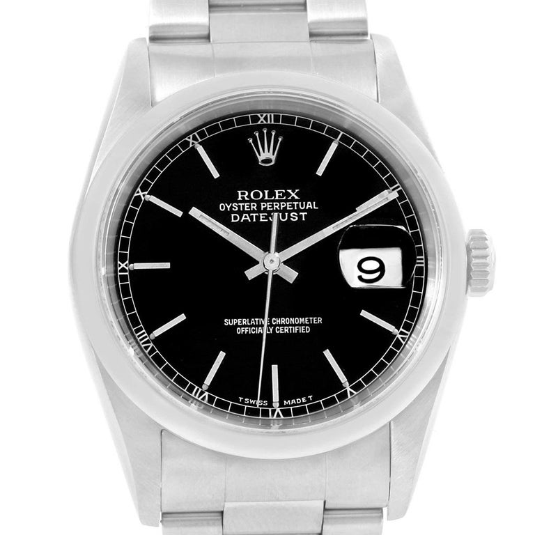 1ac38407e6fd Rolex Datejust Black Dial Oyster Bracelet Steel Mens Watch 16200.  Officially certified chronometer automatic self