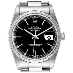 Rolex Datejust Black Dial Oyster Bracelet Steel Men's Watch 16220 Box Papers