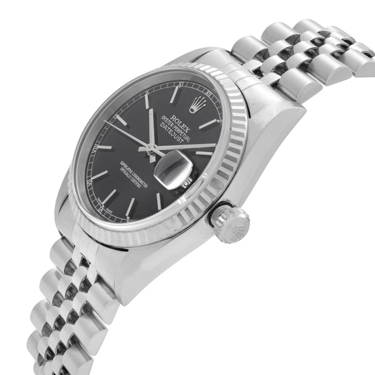 Rolex Datejust Black Dial Steel & 18K White Gold Automatic Men's Watch 16234 In Good Condition In New York, NY