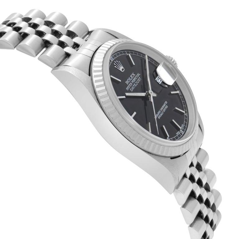Rolex Datejust Black Dial Steel & 18K White Gold Automatic Men's Watch 16234 1