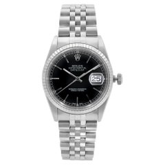 Rolex Datejust Black Dial Steel & 18K White Gold Automatic Men's Watch 16234